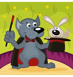 wolf magician with rabbit vector image vector image