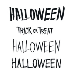 Halloween and trick or treat phrase hand drawn vector