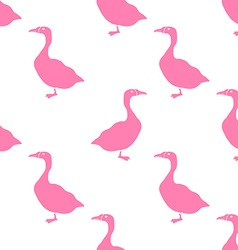 Hand drawn goose silhouette seamless pattern vector