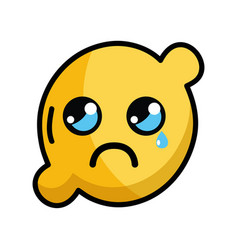 kawaii cute crying lemon fruit vector image vector image