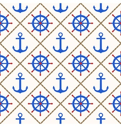 Seamless nautical pattern with anchors wheels rope vector image vector image