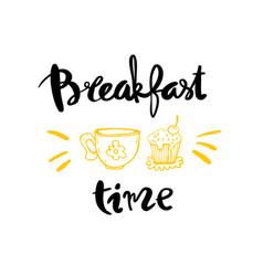breakfast time calligraphy vector image vector image
