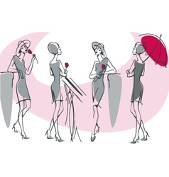 feminine silhouette collection vector image vector image