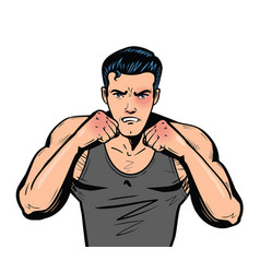 fighter with fists fight club combat fighting vector image