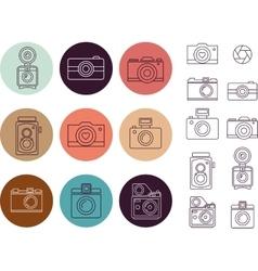 Vintage camera element icon set vector image vector image