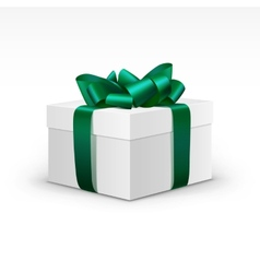 White Gift Box with Green Ribbon Isolated vector image vector image