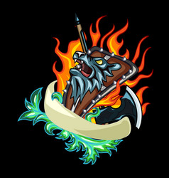 beast shield emblem vector image