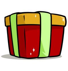 cartoon shiny red present gift box vector image