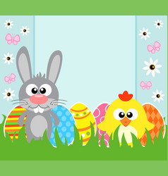 holiday easter background card with rabbit and vector image vector image