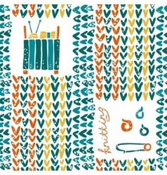 Pattern with knitting accessories and pin vector image
