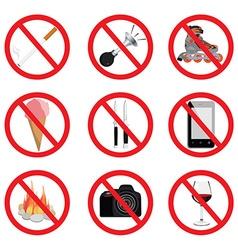 Set of no sign vector image vector image