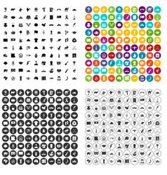 100 landmarks icons set variant vector image