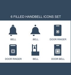 6 handbell icons vector