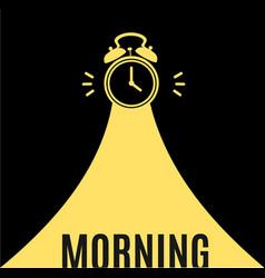 alarm clock morning concept banner flat design vector image