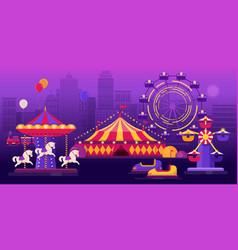 amusement park on a city landscape background vector image