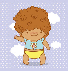 Baby boy with curly hair and diaper vector