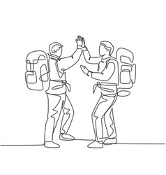 Backpacker traveling concept one line drawing vector