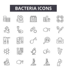 bacteria line icons signs set outline vector image