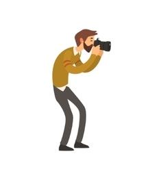 Beardy Man Taking Photo vector