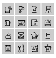 black household icon set vector image