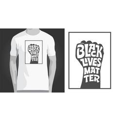 black lives matter lettering in strong fist shape vector image