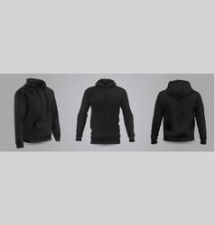 Black mens hooded sweatshirt mockup vector