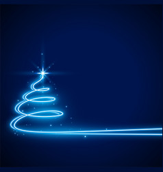 blue background with neon christmas tree design vector image