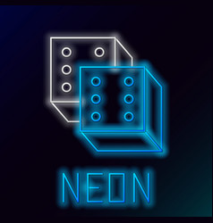 Blue glowing neon line game dice icon isolated on vector