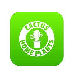 botanical cactus icon green vector image