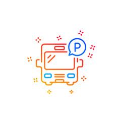 Bus parking line icon auto park sign vector