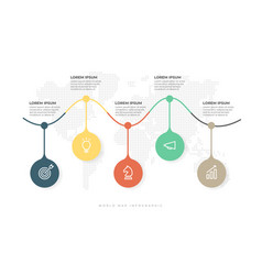 business timeline with 5 options infographic vector image