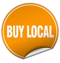 Buy local round orange sticker isolated on white vector