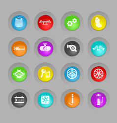 Car shop colored plastic round buttons icon set vector