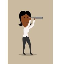 Cartoon businesswoman looking into spyglass vector