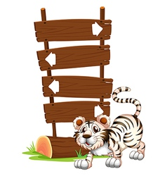 Cartoon siberian tiger signboards vector