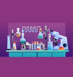 chemical laboratory table lab equipment tubes room vector image