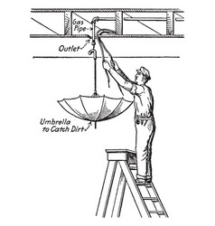 Cleaning ceiling outlets vintage vector