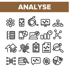 Collection analyse element sign icons set vector