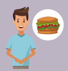 colorful poster half body man and icon hamburger vector image