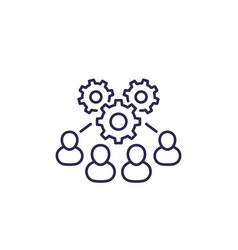 Cooperation and teamwork line icon vector