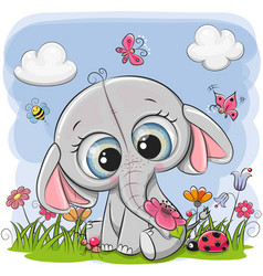 Cute cartoon elephant on a meadow vector