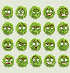 Cute cartoon green cabbage smile vector image