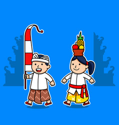 cute character bali kids suitable for hinduism vector image