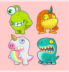 Cute monster character set vector