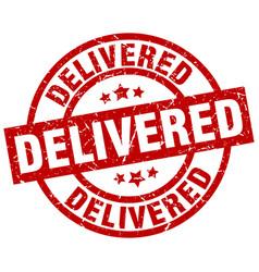 Delivered round red grunge stamp vector