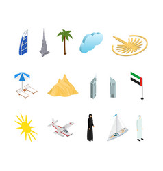 dubai uae travel and tourism icons 3d isometric vector image