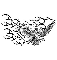 eagle fire head flame logo template design vector image