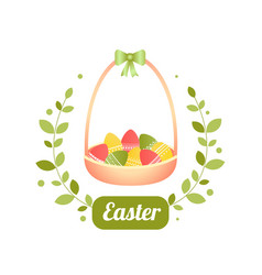 easter basket with eggs for a vector image