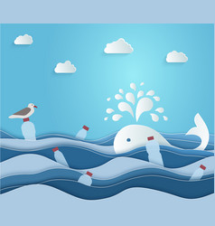 ecological blue banner or poster plastic vector image