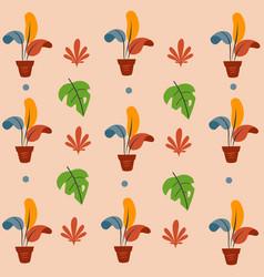 exotic plants in pot vector image